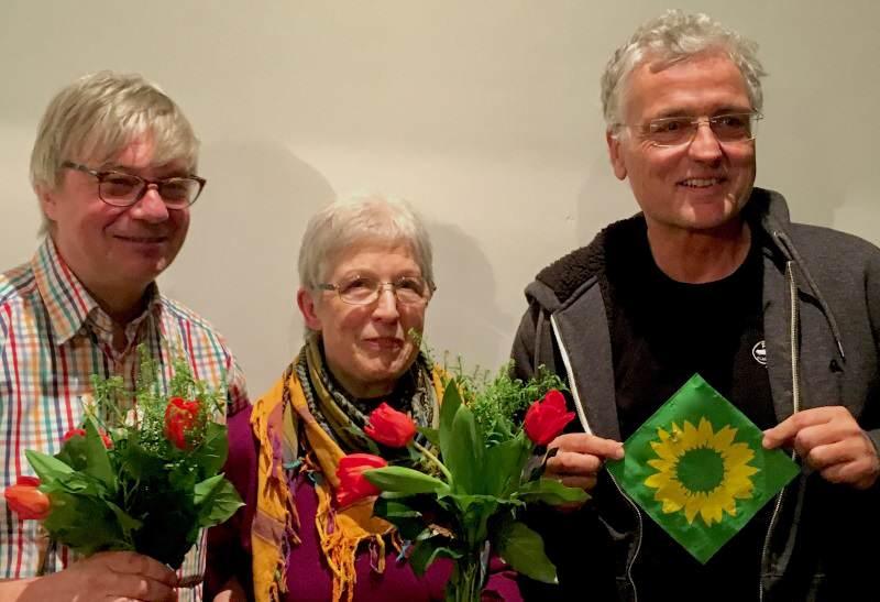 Der neue Vorstand von Bündnis90 Die Grünen auf Sylt von links nach rechts: Rolf Bünte/List, Maria Andresen/Westerland, Lothar Koch/Rantum.