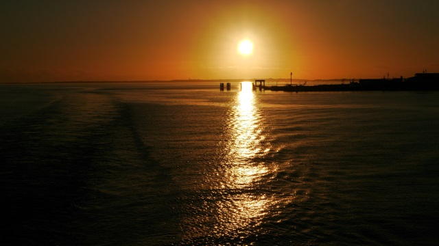 Sunset in List am Anleger der Syltfähre