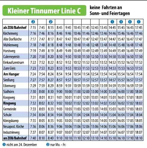 Fahrplan Stadtbus Linie C WEsterland-Tinnum