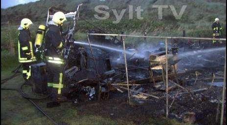 Wohnmobil auf Sylt wurde vom Feuer zerstört