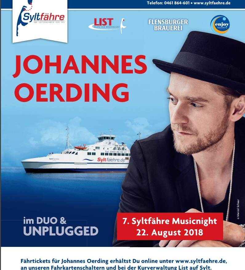 Die 7. Syltfähre Musicnight mit Johannes Oerding
