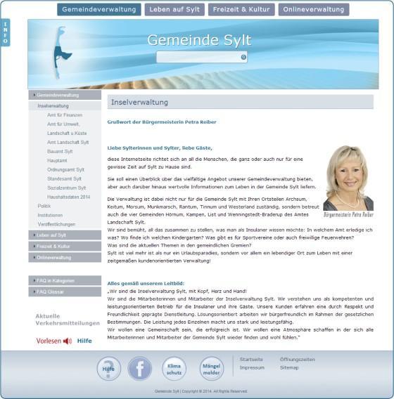 Webseite der Gemeinde Sylt