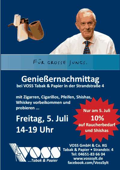 Genießernachmittag am 5.Juli bei Voss in der Strandstraße Westerlands
