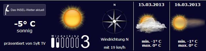 Wetter auf Sylt vom 14. bis 16. März 2013