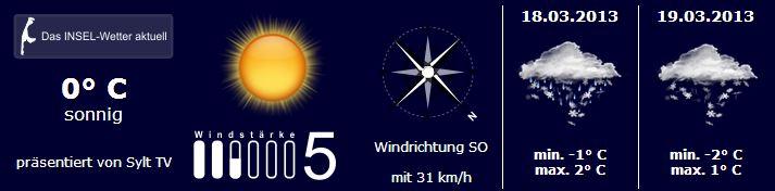 Sylt Wetter vom 17. bis 19. März 2013