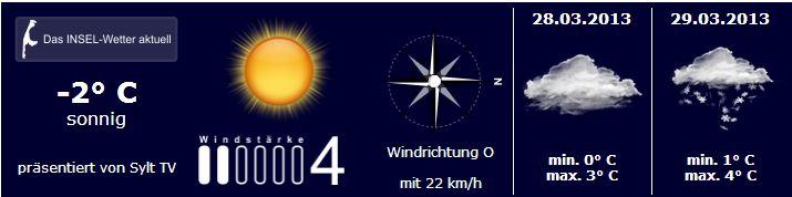 Sylt Wetter vom 27. bis 29.März 2013