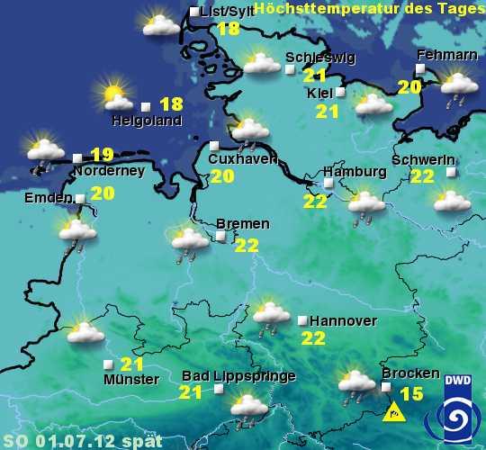 Sylt Wetter heute 30.Juni bis 3.Juli 2012