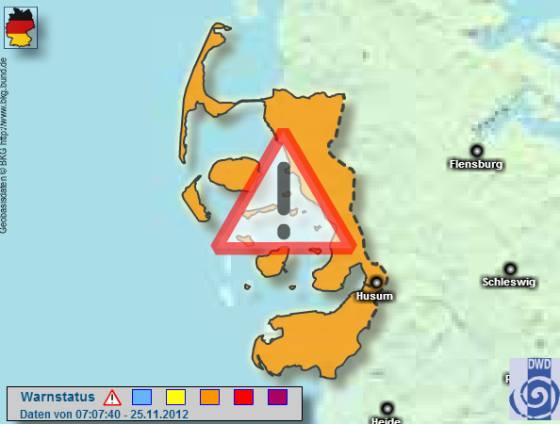 Unwetterwarnung für Sylt + die Küste 25. November 2012